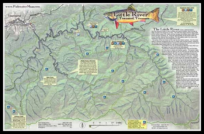 Fly Fishing Tennessee Map.Map Of The Little River Gsmnp Tennessee Trout Pro Store