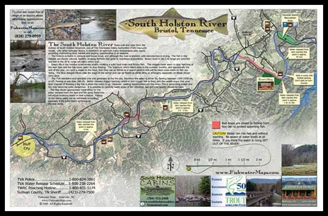Fly Fishing Tennessee Map.Map Of South Holston River Tennessee Trout Pro Store